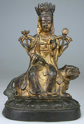 ANTIQUE CHINESE BRONZE STATUE FIGURE BUDDHA KWANYIN LADY LION GILT - Ming 17TH • 1,178.59£