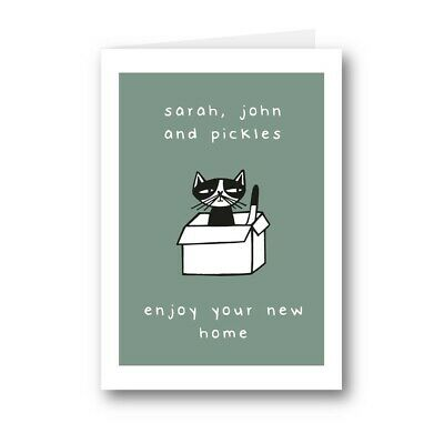 Personalised Card Enjoy Your New Home Cute Cat Kitty Kitten House Pad Funny 822 • 2.99£