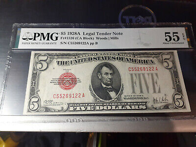 $ CDN132.78 • Buy 1928a $5 Pmg55 Epq About Unc Us Legal Tender Note Woods/mills Red Seal