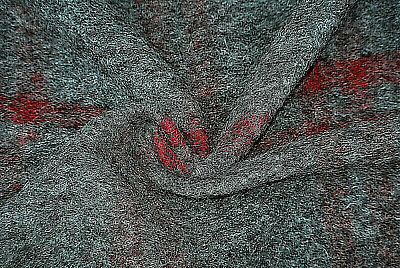 £7.99 • Buy Mid Grey & Burgundy Check Boiled Wool & Cashmere Luxury Knit Made In Italy C36