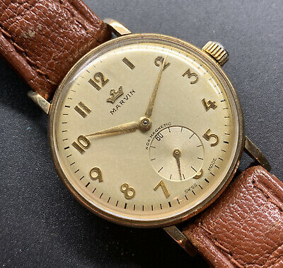£379 • Buy 1954 9k Solid Gold Marvin Art Deco Numerals Dial  Cylinder Case Wristwatch
