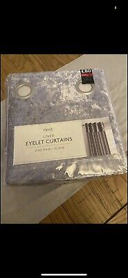 Next Eyelet Silver Crushed Curtains 66 X 90 • 30£