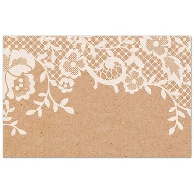 50 Kraft Cards White Lace Thank You Tags Gifts Wedding Place Cards Name Favour • 4.71£