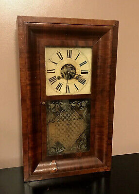 $679.99 • Buy Terry & Andrews Clock Mantle Shelf Mahogany Wood Painted Dial Glass ANTIQUE