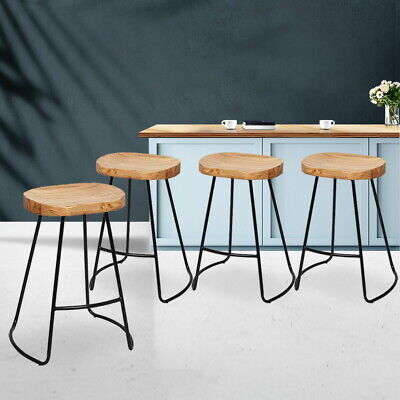 AU260.95 • Buy 4 PCS Industrial Tractor Bar Stool Vintage Kitchen Chair Wooden Curve Seat Retro