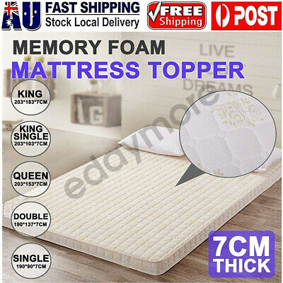 AU88 • Buy Memory Foam Mattress Topper Queen 7CM Bed Underlay Bamboo Cover Double King