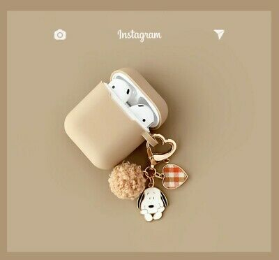 AU20.95 • Buy Snoopy Cute Fur Ball Beige Character Keychain Silicone Airpods 2 Case