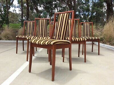 AU49.99 • Buy *RARE* Mid Century TEAK Dining Chair SET OF 6 Retro HIGHBACK Sculpted Frames!