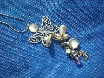 £4.50 • Buy Oasis Butterfly Beaded Dangle Long Silver Tone Chain Necklace Costume Jewellery