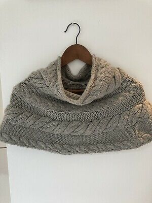 All Saints Shawl Cashmere Wool Cable Knit • 10.60£
