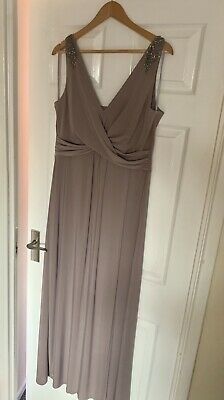 Gorgeous Monsoon Bridesmaid Maxi Dress Mink In Colour Size 16 • 25£