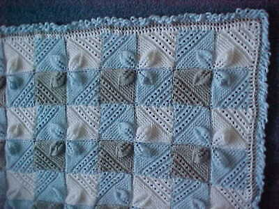 Pram Blanket Blue Grey And White New Hand Knitted • 8.99£