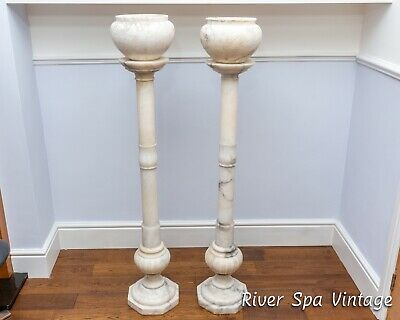 Pair Of Italian Antique Carrara Marble Columns Pedestal Plant Stands Marble Urns • 950£