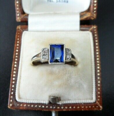 Vintage Jewllery Art Deco 18ct Gold Platinum Sapphire And Diamond Ring • 445£