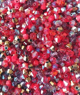 100 X 4mm Crystal Bicone Beads Red Mix Tiaras  & Jewellery Making • 1.20£