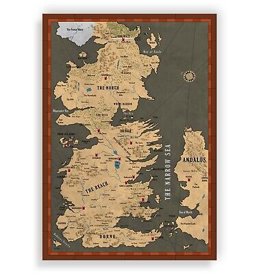 £4 • Buy Game Of Thrones - Map Of Westeros, Gaming, Gift, Wall Art, Poster, Gifts, Print