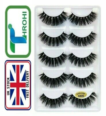 3D Mink False Eyelashes Wispy Cross Long Thick Soft Fake Eye Lashes 5 Pairs G800 • 3.99£