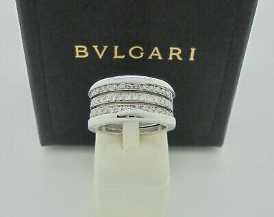 AU7950 • Buy Authentic Bvlgari Bulgari B.zero1 Diamond Four Band White Gold Ring 54 $17,450