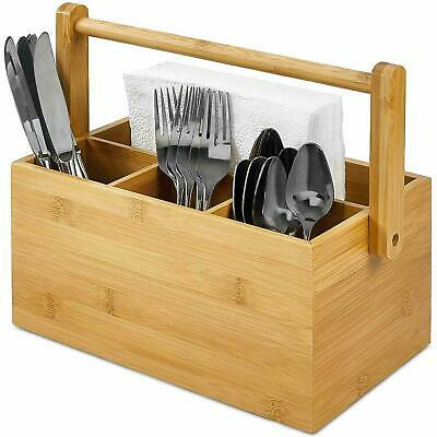 AU33.90 • Buy Baboo Table Caddy Cutlery Utensil Holder With 4 Compartments And Rotating Handle
