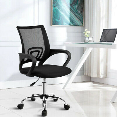 AU60.95 • Buy Rotatable Office Computer Chair Mid Back Mesh Chrome Base Height Adjustable