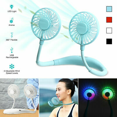 AU18.19 • Buy Hanging Neck LED USB Rechargeable Travel Sports Lazy Portable Fan Creative Tool