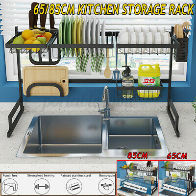 AU73.99 • Buy 85/105cm Dish Drying Rack Organizer Kitchen Draining Over Sink Stainless Steel