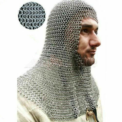 New Knights Steel Chainmail Chain Mail Coif Armor Hood For Hauberk 10mm Butted • 49.99£