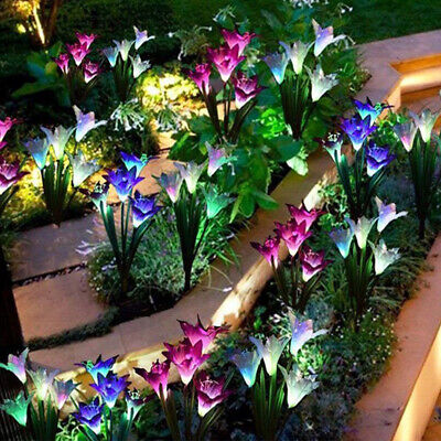 4 LED Solar Power Lily Flower Stake Lights Outdoor Garden Path Lamps Colorful • 9.29£