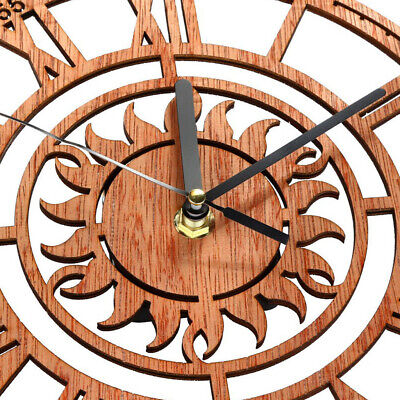 £6.77 • Buy Retro Style Wooden Wall Clock With Sun Design, Silent Clock No Ticking,