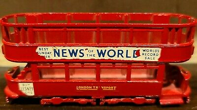 $ CDN10.14 • Buy Vintage LESNEY Double Decker Bus Trolley No. 3 News Of The World Red 3