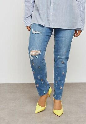 Simply Be Ladies Womens Embroidered Mid Blue Ripped Skinny Denim Jeans Size 12 • 14.99£