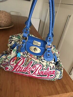 Pauls Boutique London Blue And Pink Hand Bag With Key Chain And Floral Print • 1.99£