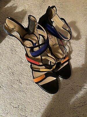 LADIES STRAPPY Italian Leather Multicoloured Heels SANDALS. SIZE 6/39 • 6£