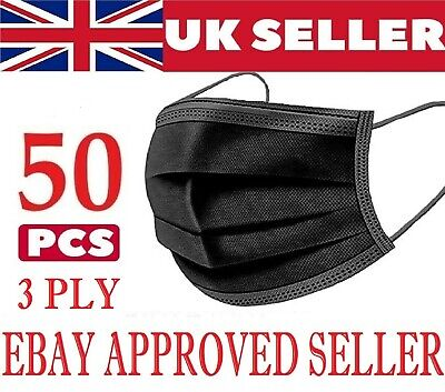 50 X Black Disposable Face Masks Non-medical Surgical Mask (3 Ply Not 2 Ply) • 2.99£