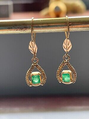 Yellow Gold Earrings,18 Kt, With Genuine Colombian Emerald  • 299£