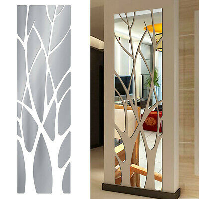 Extra Large Modern Acrylic Tree Mirror Wall Tile Stick Decal Home Decor Ornament • 13.39£