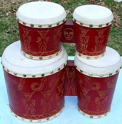 £48.98 • Buy Rare Double Pair Of Etched Bongos With Skin Heads