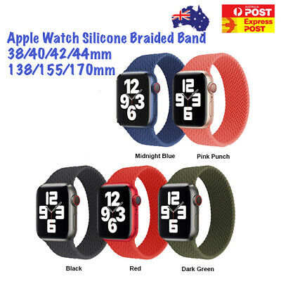 AU9.13 • Buy For Apple Watch Series 1-6 Silicone Elastic Braided Band 38/42/40/44/mm