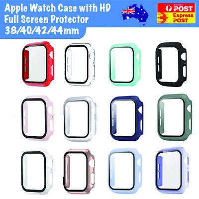 AU6.99 • Buy For Apple Watch Full Case Cover W/ Tempered Glass Screen Protector 38/42/40/44mm