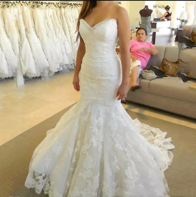 $ CDN169.04 • Buy Off Shoulder Wedding Dresses Sweetheart Mermaid White Ivory Lace Appliques Plus