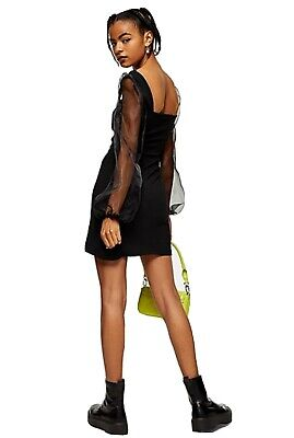 Topshop Black Square Neck Organza Mini Dress Only 16 Size • 5.99£
