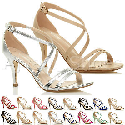 £19.99 • Buy Womens Ladies Mid High Heel Strappy Crossover Wedding Prom Sandals Shoes Size
