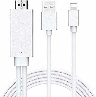 USB LeaD  For IPad IPhone To HDMI Adapter Cable, 6ft HDMI TV Cable, Digital AV • 21.99£