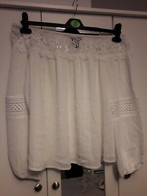 New Look Womens Off The Shoulder White Top Size 14 • 7£