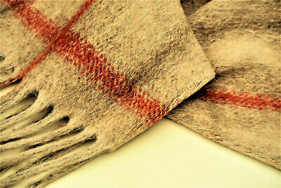 £8.99 • Buy Fringed Edge Beige+cranberry Check  Wool&cashmere Luxury Knit Made In Italy C168