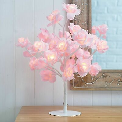 New Beautiful Pink Rose Bouquet 32 LED's Tree Table Lamp Bedside & Party Light • 29.76£