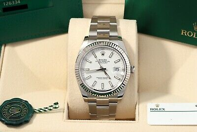 $ CDN13574.92 • Buy Rolex Datejust 41 White Index Fluted Oyster 2021 New Card/Box/Papers 126334