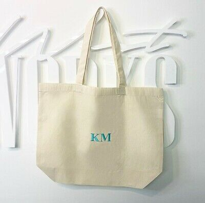 Custom Initial Canvas Tote Bag Large (Sustainable, Reusable, Bag For Life) • 15£