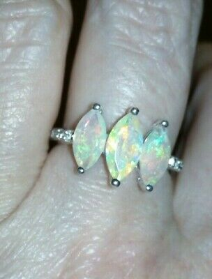 100% Genuine Ethiopian Opal & White Topaz Sterling Silver Ring 1.69cts ~ • 69.99£