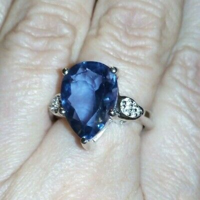 100% Genuine Baiyang Colour Change Fluorite & Topaz Sterling Silver Ring 7cts.. • 79.99£